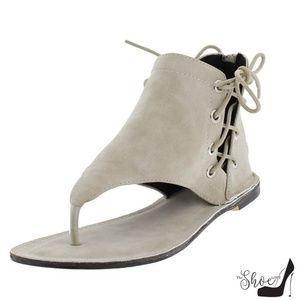 The Shoe Loft Shoes - Bell Stone Ankle Wrap Gladiator Thong Sandals